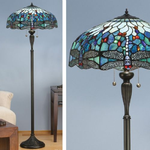 Dragonfly Blue Floor Lamp (Nature, Tiffany Studio, Traditional, Floor Lamp) T009F (Tiffany style)